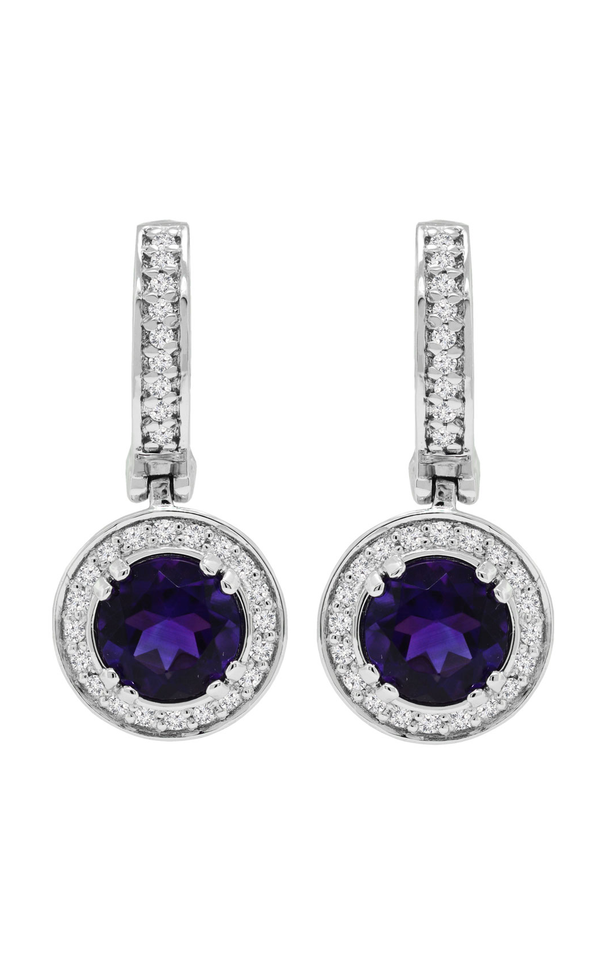 18K White Gold Amethyst and Diamond Hoop Earrings, Earrings, Nazar's & Co. - Nazar's & Co.