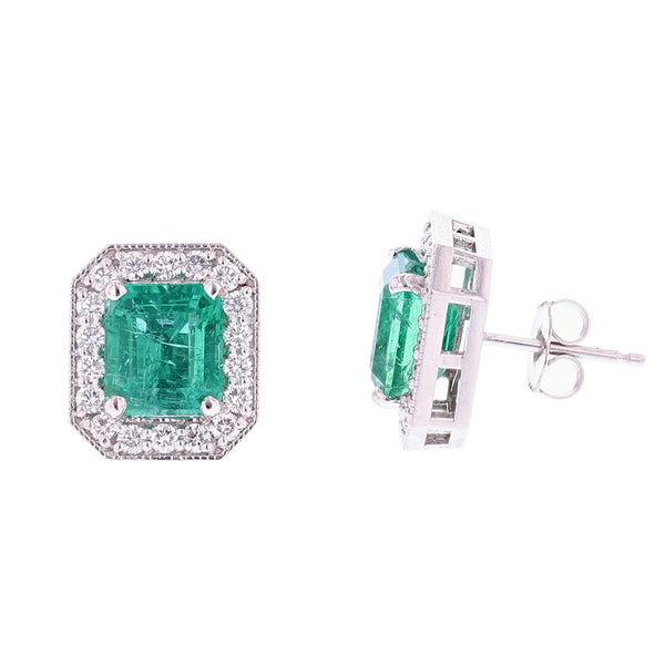 14K White Gold Emerald Cut Green Emerald and Diamond Stud Earrings - Nazar's & Co.