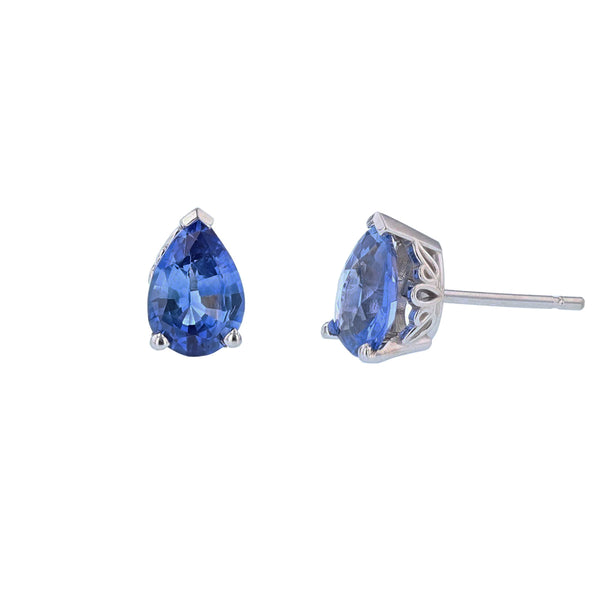 14K White Gold Solitaire Pear Blue Sapphire Stud Earrings - Nazar's & Co.