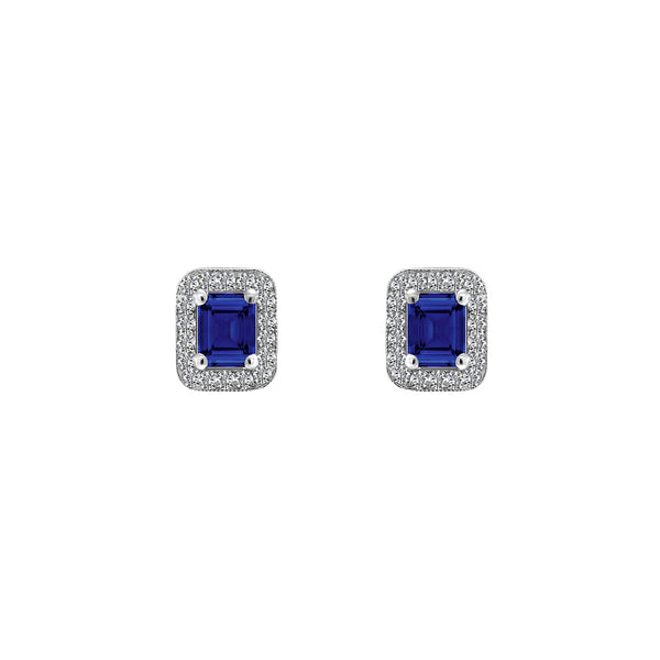 14K White Gold Emerald Cut Sapphire and Diamond Earrings - Nazar's & Co.
