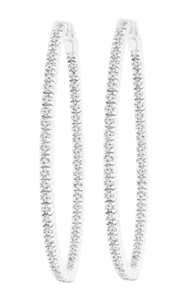 Diamond Oval Hoop Earrings, Earrings, Nazar's & Co. - Nazar's & Co.