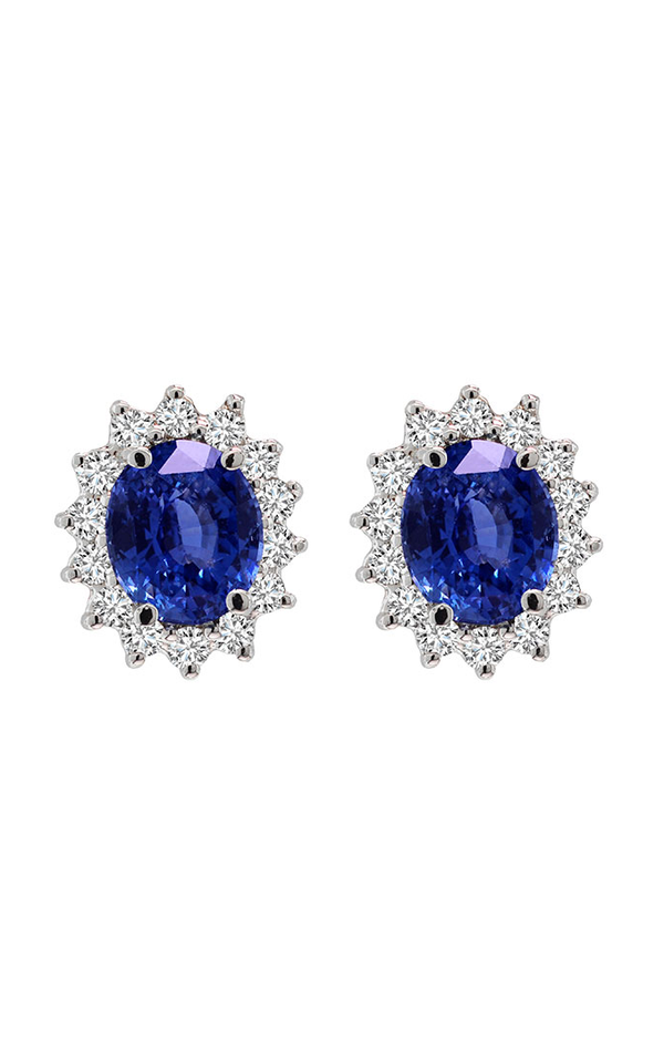 14K White Gol 3.53 Carat Oval Blue Sapphire and Diamond Earrings - Nazar's & Co.