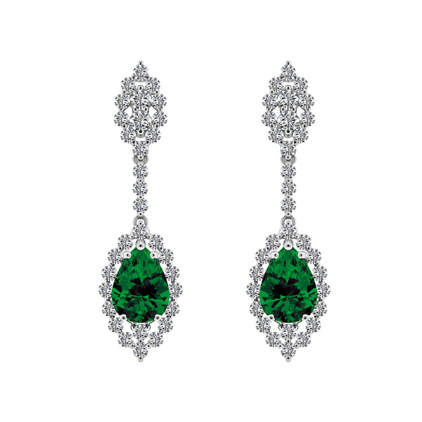 14K White Gold Emerald and Diamond Earrings - Nazar's & Co.