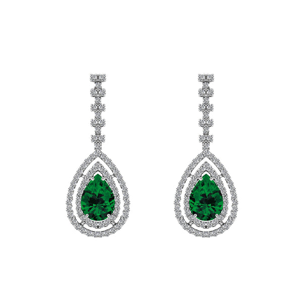 Nazar Couture Emerald Pear and Diamond Earrings, Earrings, Nazar's & Co. - Nazar's & Co.