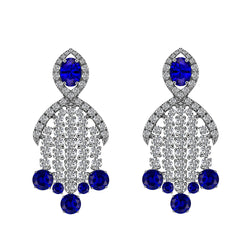 14K White Gold Blue Sapphire and Diamond Chandelier Earrings - Nazar's & Co.