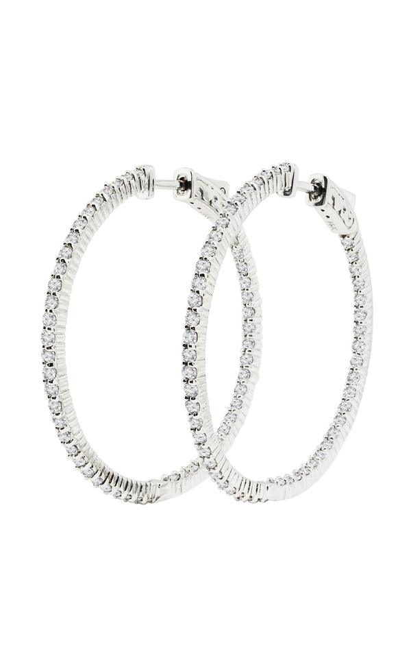 14K White Gold Diamond Hoop Earrings, Earrings, Nazar's & Co. - Nazar's & Co.
