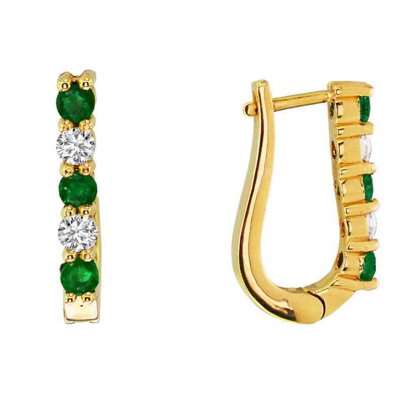 Yellow Gold Small Hoop Emerald and Diamond Earrings, Earrings, Nazar's & Co. - Nazar's & Co.