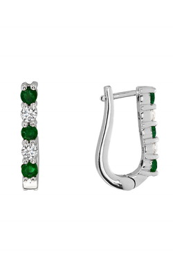 Small Hoop Emerald and Diamond Earrings, Earrings, Nazar's & Co. - Nazar's & Co.