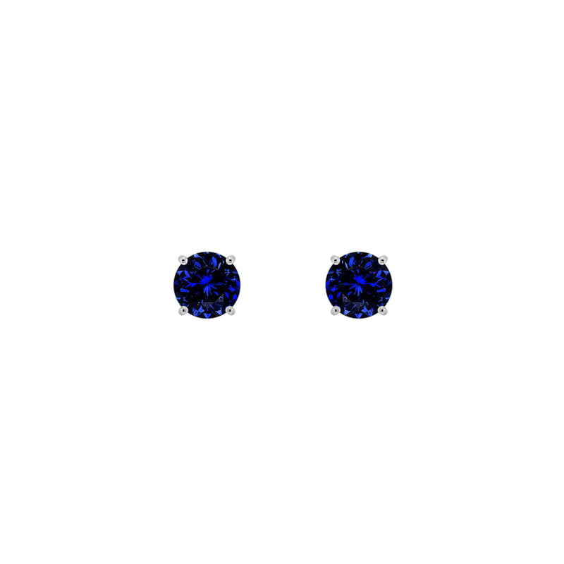 14K White Gold Solitaire Blue Sapphire Earrings - Nazar's & Co.