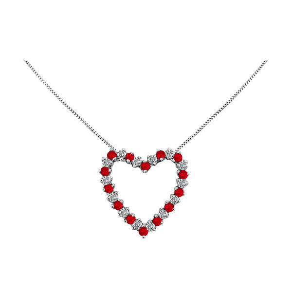 14K White Gold Ruby and Diamond Heart Necklace - Nazar's & Co.