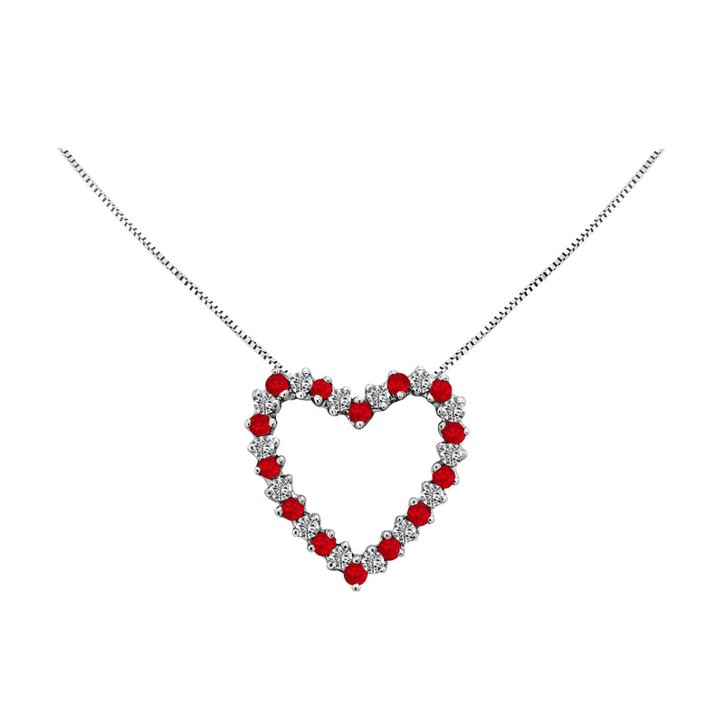 14K White Gold Ruby and Diamond Heart Necklace, Necklaces, Nazar's & Co. - Nazar's & Co.