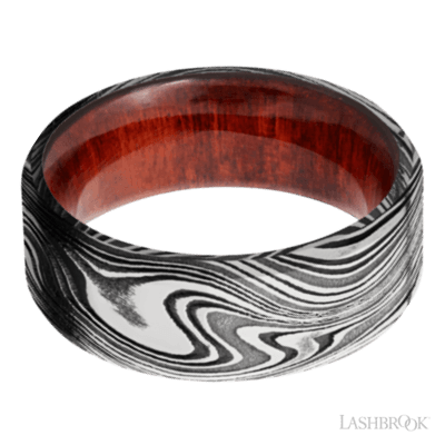 Lashbrook Men's Damascus Steel and Hardwood Band, Rings, Nazar's & Co. - Nazar's & Co.