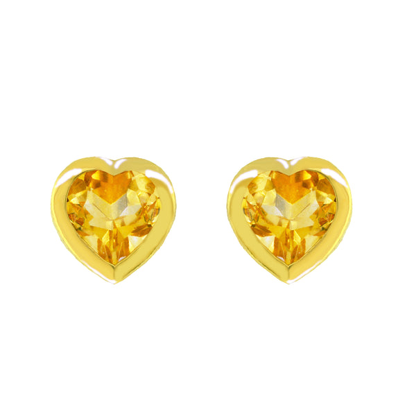 14K Yellow Gold and Citrine Heart Stud Earrings, Earrings, Nazar's & Co. - Nazar's & Co.
