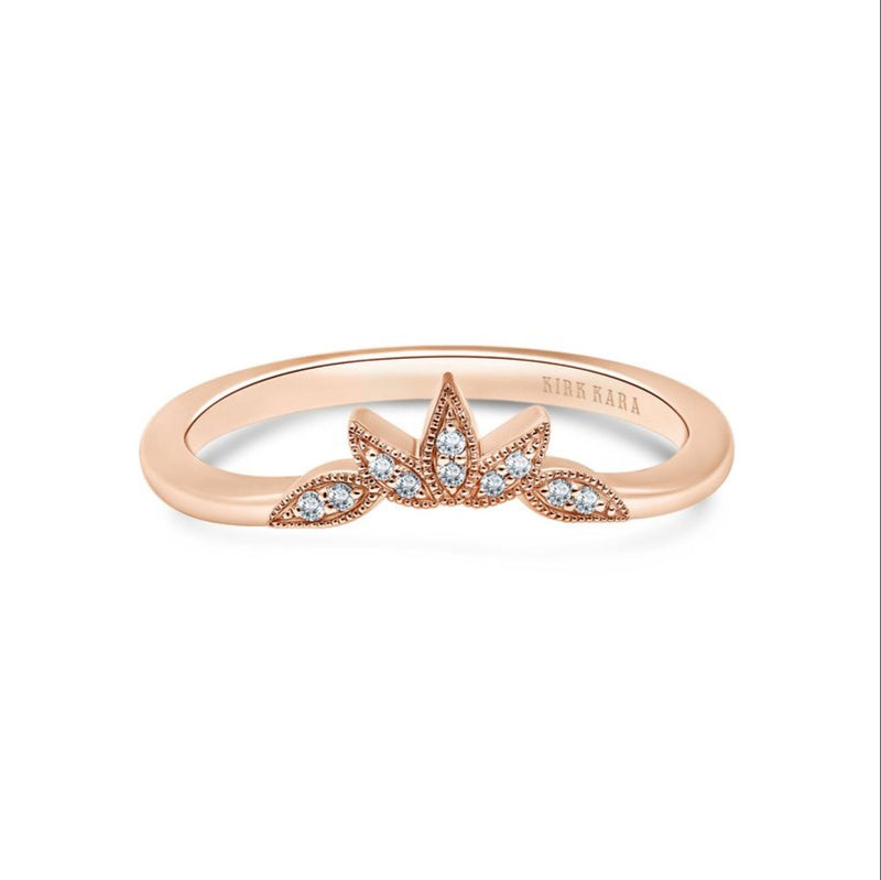 Kirk Kara Dahlia 14K Rose Gold Three Leaf Petite Diamond Band - Nazar's & Co.