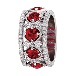 Jack Kelege Diamond and Ruby Eternity Ring, Rings, Nazar's & Co. - Nazar's & Co.