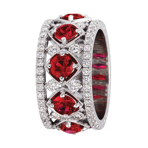Jack Kelege Diamond and Ruby Eternity Ring - Nazar's & Co.