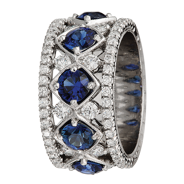 Jack Kelege Diamond and Blue Sapphire Eternity Ring - Nazar's & Co.