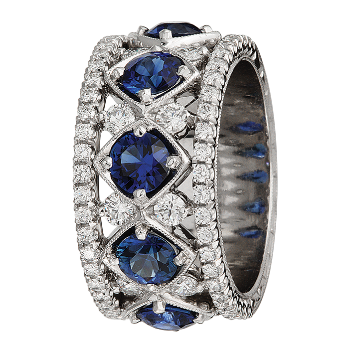 Jack Kelege Diamond and Blue Sapphire Eternity Ring, Rings, Nazar's & Co. - Nazar's & Co.