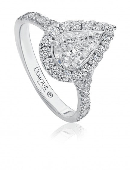 Christopher Designs L'Amour Crisscut Pear Diamond Engagement Ring