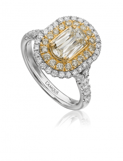 Christopher Designs L'Amour Crisscut Yellow Diamond Engagement Ring