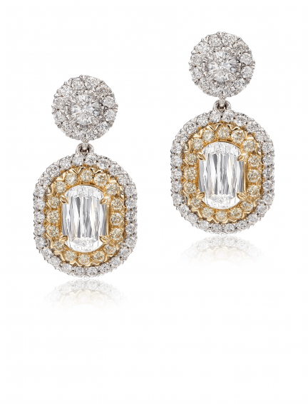 Christopher Designs L'Amour Crisscut Yellow Diamond Earrings