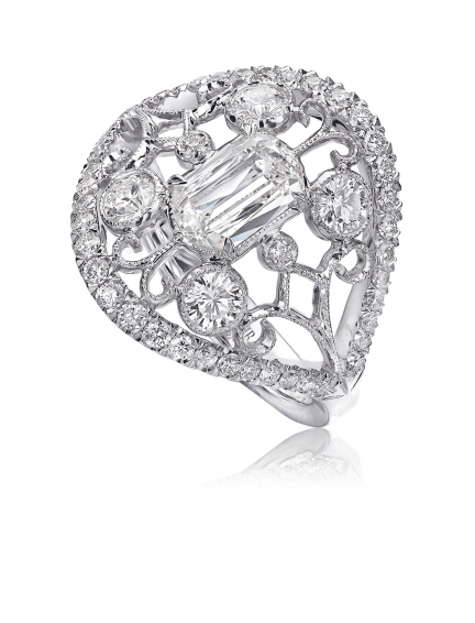 Christopher Designs L'Amour Crisscut Rose Gold Diamond Anniversary Band, Rings, Nazar's & Co. - Nazar's & Co.