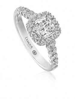 Christopher Designs L'Amour Crisscut Cushion Diamond Engagement Ring