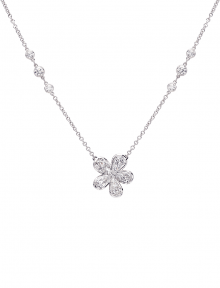 Christopher Designs L'Amour Crisscut Pear Diamond Necklace