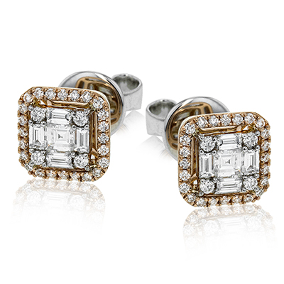 Simon G. Mosaic Rose Gold Diamond Earrings, Earrings, Nazar's & Co. - Nazar's & Co.