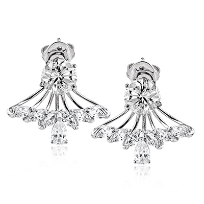 Simon G. 18K White Gold Diamond Earrings - Nazar's & Co.