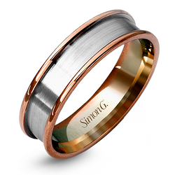 Simon G. 14K Rose and White Gold Men's Wedding Band, Rings, Nazar's & Co. - Nazar's & Co.