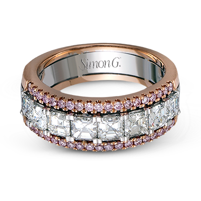 Simon G. 18K White and Rose Gold Diamond Men's Wedding Band, Rings, Nazar's & Co. - Nazar's & Co.
