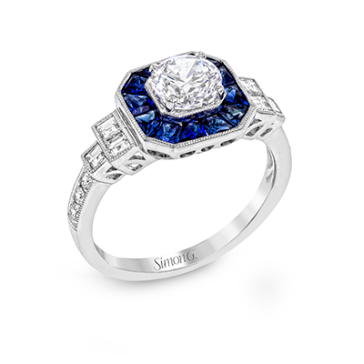 Classic Romance Collection Diamond and Blue Sapphire Engagement Ring Setting - Nazar's & Co.
