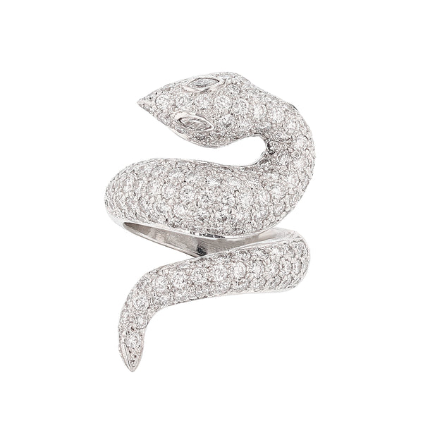 Nazarelle 14 Karat White Gold Diamond Snake Ring - Nazar's & Co.