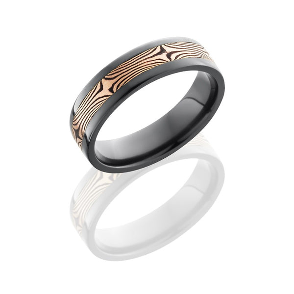 Lashbrook Mokume TexturedPolished Men's Wedding Band, Rings, Nazar's & Co. - Nazar's & Co.