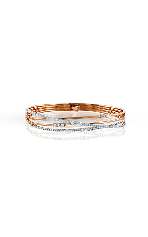 Classic Romance Collection 18K White and Rose Gold Diamond Bangle, Bangle, Nazar's & Co. - Nazar's & Co.