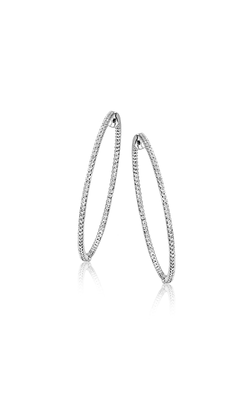 Modern Enchantment Collection 18K White Gold Diamond Hoop Earrings, Earrings, Nazar's & Co. - Nazar's & Co.