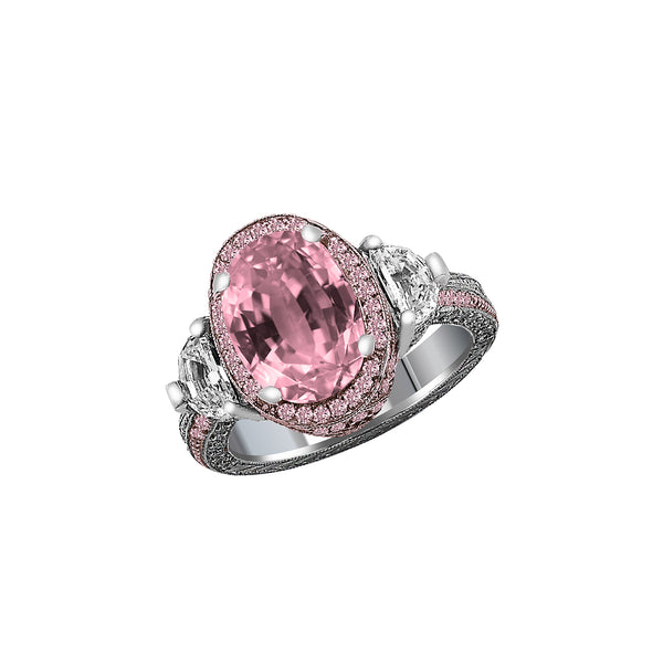 Platinum & 18K Rose Gold Pink Sapphire, Pink Diamond and Diamond Ring, Rings, Nazar's & Co. - Nazar's & Co.
