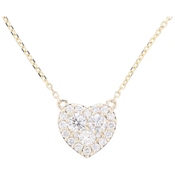 14K Yellow Gold Diamond Heart Necklace - Nazar's & Co.