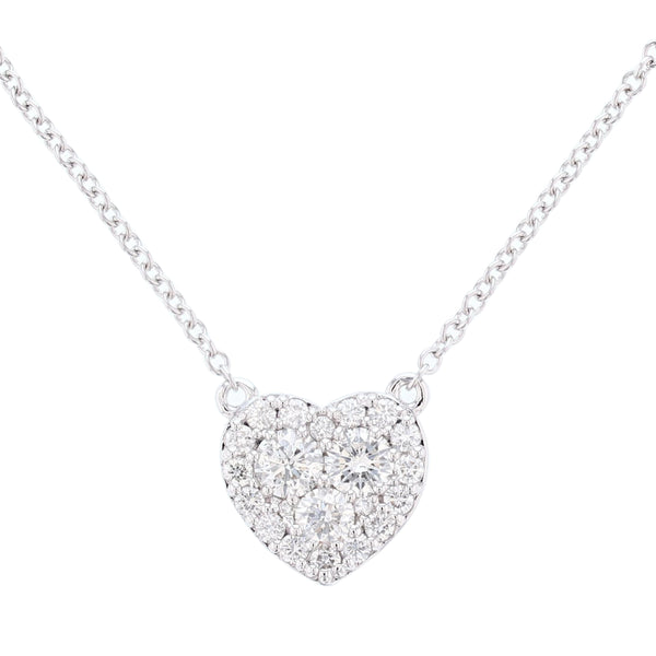 14K White Gold Diamond Heart Necklace - Nazar's & Co.