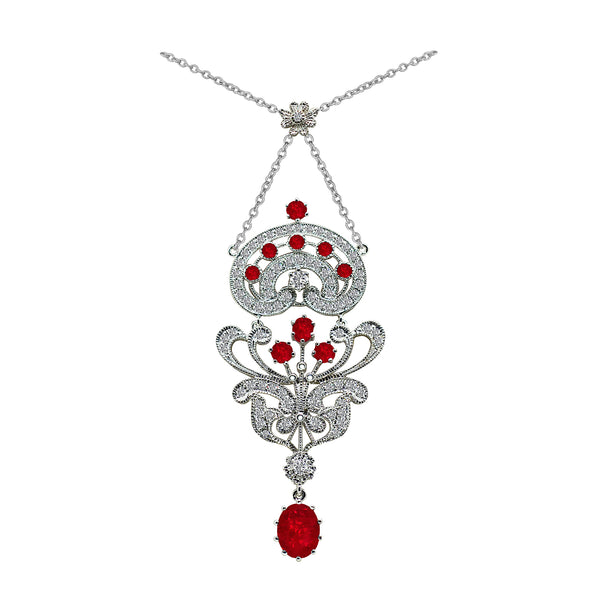 14K White Gold 2.00 Carat Ruby and 1.00 Carat Diamond Necklace - Nazar's & Co.
