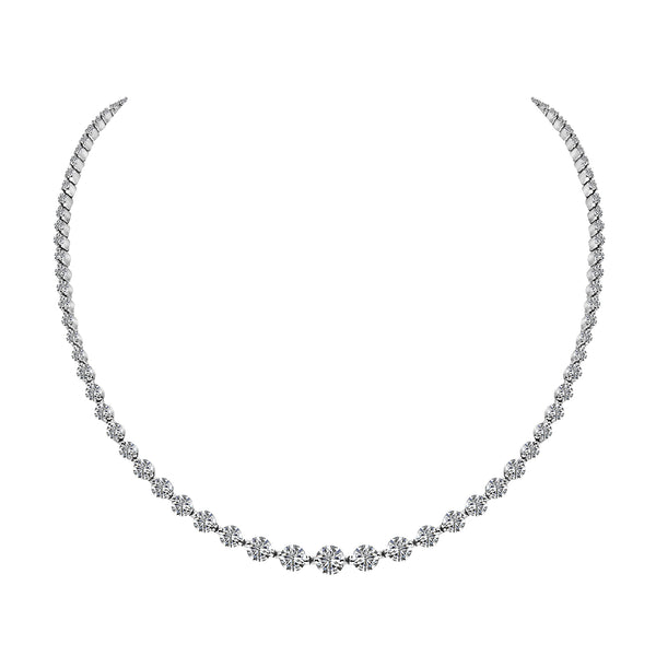 14K White Gold 10.50 Carat Diamond Necklace - Nazar's & Co.