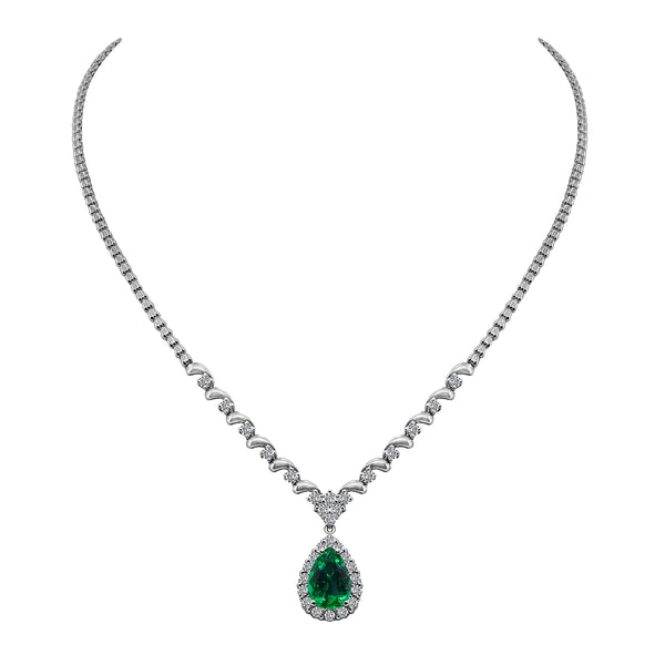 18K White Gold Emerald and Diamond Pendant, Necklaces, Nazar's & Co. - Nazar's & Co.