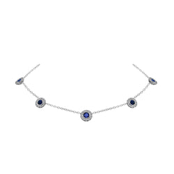 Nazar's Collection Blue Sapphire and Diamond Necklace, Necklaces, Nazar's & Co. - Nazar's & Co.