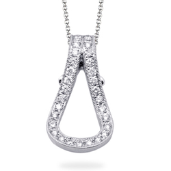 Buckle Collection 18K White Gold Diamond Pendant Necklace, Necklaces, Nazar's & Co. - Nazar's & Co.