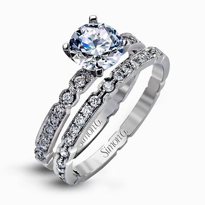 Simon G. Modern Enchantment Wedding Set, Rings, Nazar's & Co. - Nazar's & Co.