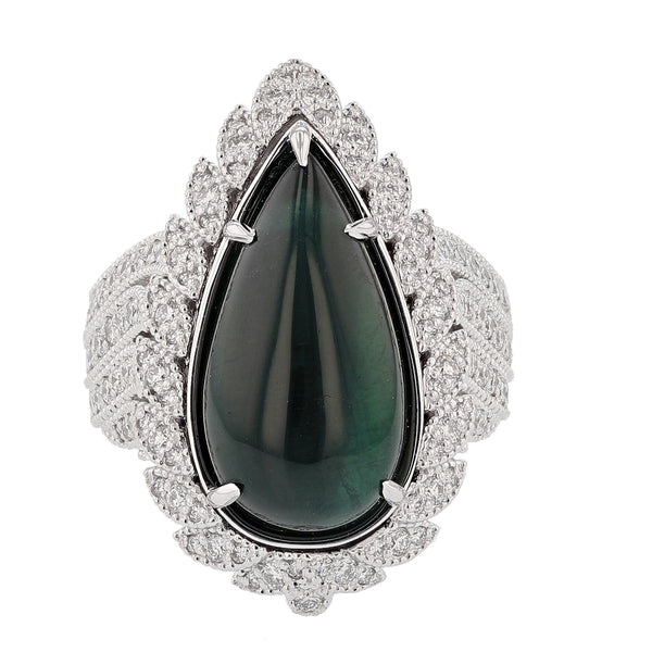 Nazarelle 14K Gold 11.48C Green Tourmaline and Diamond Ring - Nazar's & Co.