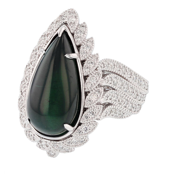 Nazarelle 14K Gold 11.48C Green Tourmaline and Diamond Ring, Rings, Nazar's & Co. - Nazar's & Co.