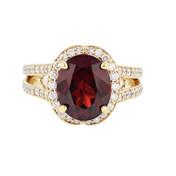 Nazarelle 14K Yellow Gold Oval Garnet and Diamond Ring - Nazar's & Co.