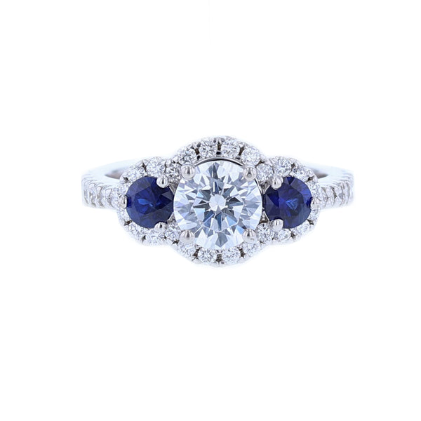 Nazarelle Diamond and Sapphire Three Stone Engagement Ring Setting, Rings, Nazar's & Co. - Nazar's & Co.
